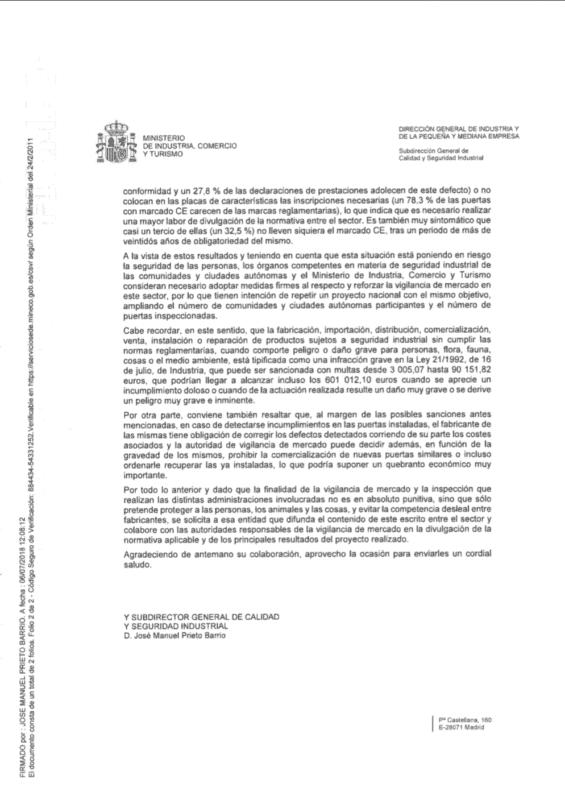 carta del ministerio a aecim 2018
